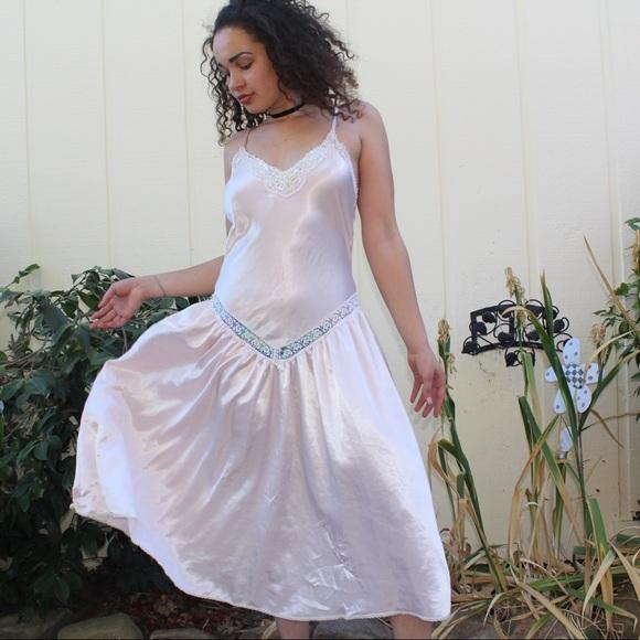 6f380a60a7f2 Intimates & Sleepwear   Vintage Lingerie Pink Satin Drape Dress Slip ...